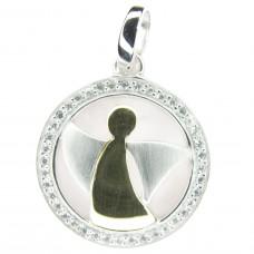 Anhänger, rund mit Engel und Zirkonias, Silber 925 rhodiniert, vergoldet