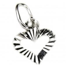 Anhänger, offenes Herz diamantiert 925 hochwertig rhodiniert