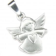 Anhänger, Engel mit Herz, Silber 925 rhodiniert