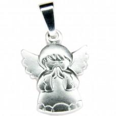 Anhänger, betender Engel, Silber 925 rhodiniert