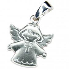 Anhänger, Engel mit Kreuz auf der Brust, Silber 925 rhodiniert
