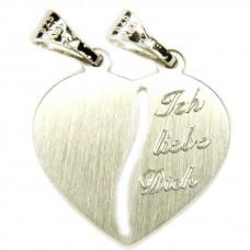 Anhänger Herz einseitig beschriftet - Ich liebe Dich - Silber 925 rhodiniert