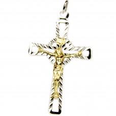 Anhänger Kreuz 40x24mm, Jesus bicolor, Silber 925