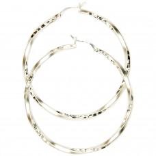 Creole, 50mm, Diamantschnitt, Silber 925