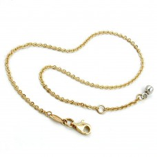 Fußkette, Ankerkette mit Endkugel, bicolor, 9Kt GOLD