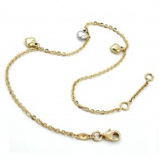 Fußkette, Ankerkette mit 3 Herzen, bicolor, 9Kt GOLD