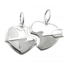 Anhänger, 2 Herzen mit Pfeil Silber 925