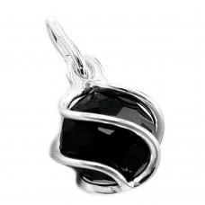 Anhänger, Wachsperle, Onyx schwarz, Silber 925