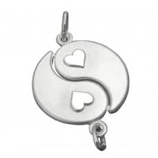 Anhänger, Yin-Yang, 2 Herzen Silber 925