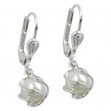 Ohrring, Ohrhänger, Brisur, Wachsperle, Perle Imitat-weiß, Silber 925