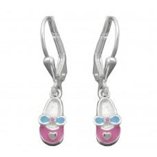 Kinderschmuck, Ohrring, Ohrhänger, Brisur, Babyschuhe rosa-hellblau, Silber 925