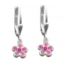 Kinderschmuck, Ohrring, Ohrhänger, Brisur, Blume pink-rosa-lila-lackiert Silber 925 hochwertig rhodiniert