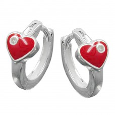 Kinderschmuck, Creole, Herz rot mit Zirkonia Silber 925