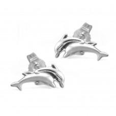 Ohrstecker, Stecker, Delfin-Paar, Silber 925
