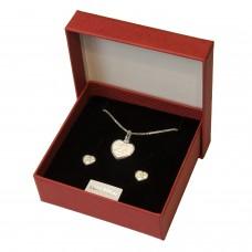Geschenkset Anhänger mit Schutzengel im Herz mit Venezianerkette und inkl. Ohrstecker, Silber 925