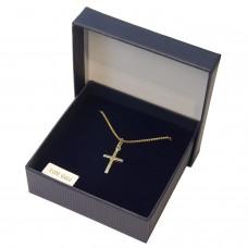Geschenkset Anhänger mit Kette, Kreuz matt 21x10,3mm, 8Kt GOLD