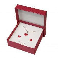 Geschenkset, Herz rot, 925er Silber