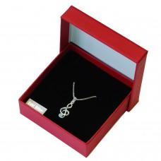 Anhänger mit Kette, Notenschlüssel mit Zirkonia, Silber 925 inkl. Box