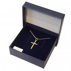Geschenkset Anhänger Kreuz diamantiert, 8Kt GOLD mit Kette